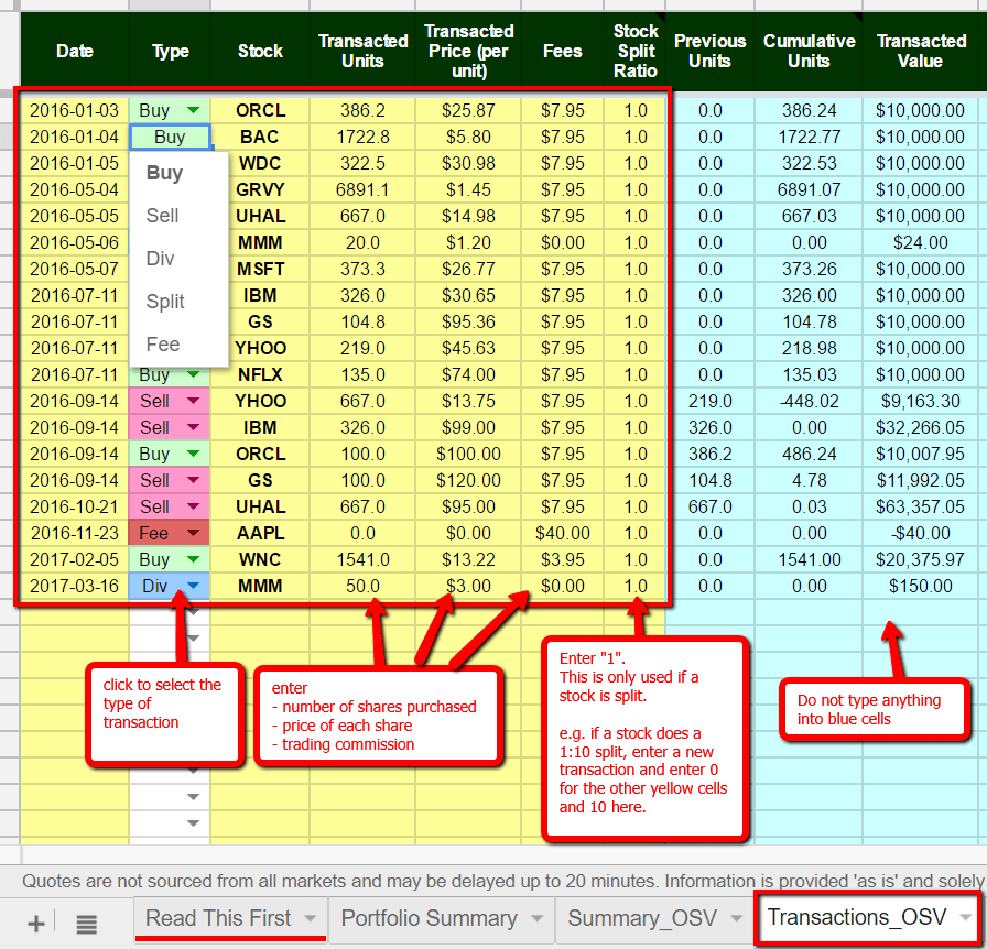 How to enter transactions in stock tracking spreadsheet
